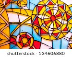 Abstract Vitrage On Glass. Han...