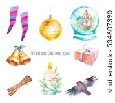 watercolor christmas icons set. ... | Shutterstock . vector #534607390