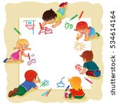 happy children together draw on ... | Shutterstock .eps vector #534614164