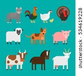 farm animals cute colorful... | Shutterstock .eps vector #534619228