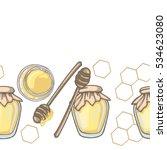 seamless border with honey... | Shutterstock .eps vector #534623080