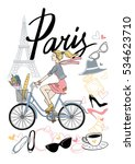 A Girl Rides A Bicycle. Paris....