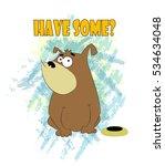 foolish cartoon dog sits near... | Shutterstock .eps vector #534634048