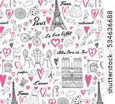 travel paris vector line pattern | Shutterstock .eps vector #534636688