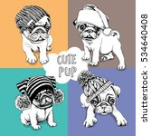 set of a pugs puppies in a... | Shutterstock .eps vector #534640408