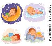 set illustration babies sleep.   Shutterstock .eps vector #534645910