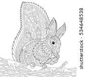 Stylized Squirrel Sitting On A...