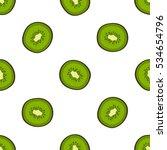 kiwi slice vector seamless... | Shutterstock .eps vector #534654796