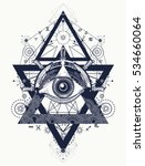 all seeing eye tattoo art... | Shutterstock .eps vector #534660064