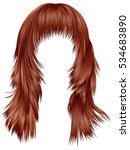 trendy woman long hairs red... | Shutterstock .eps vector #534683890