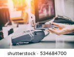 Small photo of mobile payment phone retail nfc pay paying smart shopping reader woman wireless concept - stock image