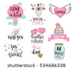 set of valentine's day... | Shutterstock .eps vector #534686338