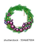 christmas wreath ornament on a ... | Shutterstock .eps vector #534687004