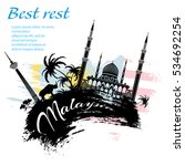 travel malaysia design in... | Shutterstock .eps vector #534692254