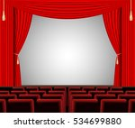 empty stage with red curtain... | Shutterstock .eps vector #534699880