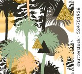 tropical palm trees seamless...   Shutterstock . vector #534701926