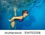 sports little girl swims... | Shutterstock . vector #534702358
