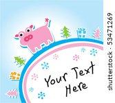 piggy christmas greeting card   Shutterstock .eps vector #53471269