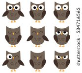 Stock vector set of cute cartoon owls with various emotions 534716563