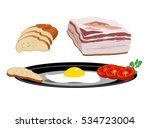 bacon  fried egg  tomato and... | Shutterstock .eps vector #534723004