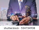 double exposure of businessman... | Shutterstock . vector #534734938