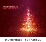 christmas tree with defocused... | Shutterstock .eps vector #534735520