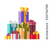 big pile of colorful wrapped... | Shutterstock .eps vector #534736708