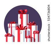 big pile of wrapped white gift... | Shutterstock .eps vector #534736804