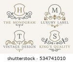 luxury logo set. calligraphic... | Shutterstock .eps vector #534741010