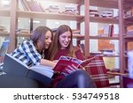 smiling female college students ... | Shutterstock . vector #534749518