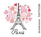 vector eifel tower paris... | Shutterstock .eps vector #534753286