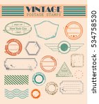 vintage postal set. air mail.... | Shutterstock .eps vector #534758530