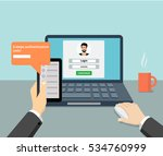 flat man sitting at desktop and ... | Shutterstock .eps vector #534760999