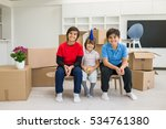 happy kids with boxes at new... | Shutterstock . vector #534761380
