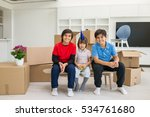 happy kids with boxes at new... | Shutterstock . vector #534761680