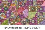 vector patchwork pattern.... | Shutterstock .eps vector #534764374