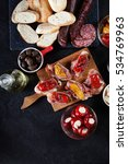 spanish tapas with slices jamon ... | Shutterstock . vector #534769963