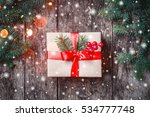 christmas gift box with red... | Shutterstock . vector #534777748