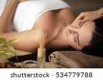 woman having a massage in a spa | Shutterstock . vector #534779788