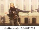 happy young woman with handbag... | Shutterstock . vector #534785254