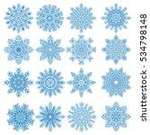 set of 16 decorative blue... | Shutterstock .eps vector #534798148