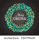 christmas wreath with colourful ... | Shutterstock .eps vector #534799630