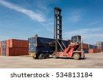 forklift truck lifting cargo...   Shutterstock . vector #534813184