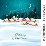 winter village night christmas... | Shutterstock .eps vector #534814288