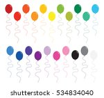 rainbow color party balloons... | Shutterstock .eps vector #534834040