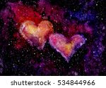 watercolor bright pink hearts... | Shutterstock . vector #534844966