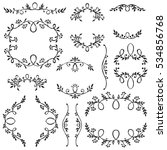 set of hand drawn frames with... | Shutterstock .eps vector #534856768