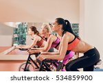 three young women on exercise... | Shutterstock . vector #534859900