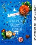 new year vector blue poster... | Shutterstock .eps vector #534885694