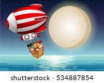 blimp with kids over water | Shutterstock .eps vector #534887854